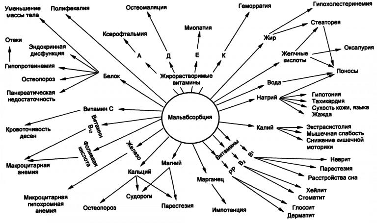 Клиническая картина синдрома мальабсорбции