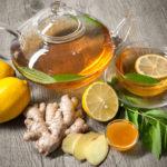 имбирь, зелёный чай и лимон